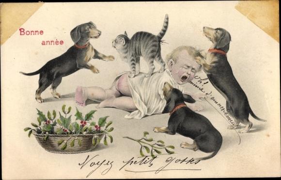 Ak Glückwunsch Neujahr, Weinendes Kleinkind, Hauskatze, Dackel