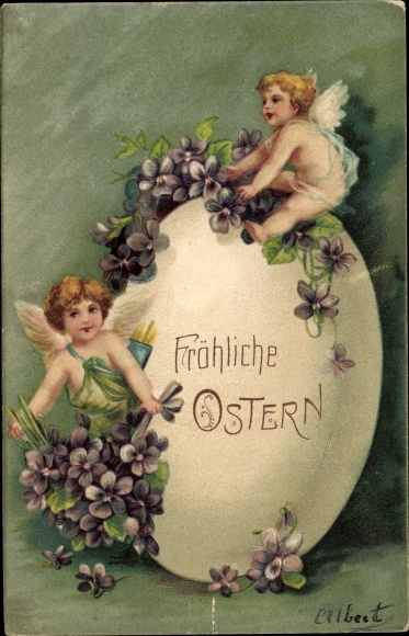 Präge Ak Glückwunsch Ostern, Riesiges Osterei, Engel