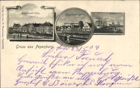 Ak Papenburg im Emsland, Hauptkanal links und rechts, Hafen