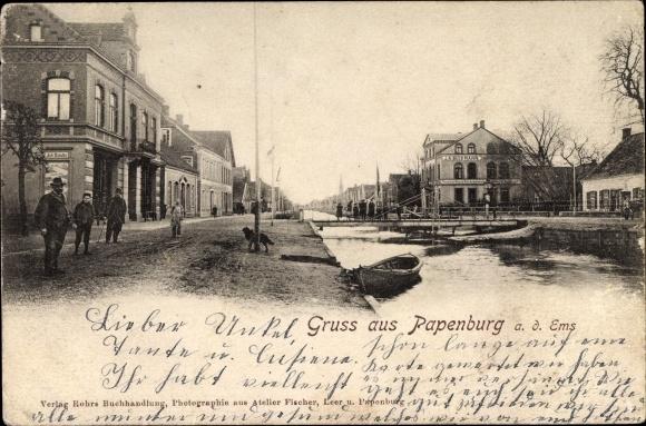 Ak Papenburg im Emsland, Wasserpartie, Anwohner