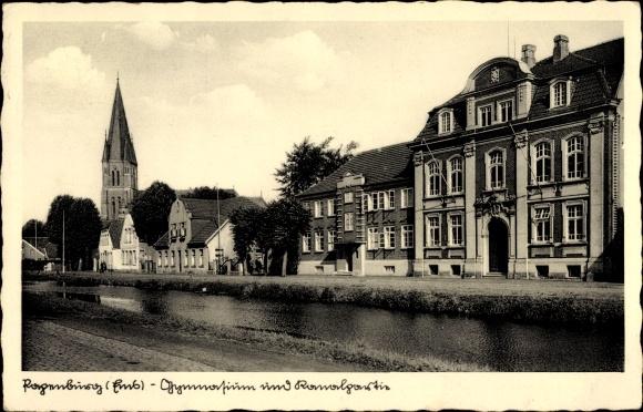 Ak Papenburg im Emsland, Gymnasium und Kanalpartie, Kirche