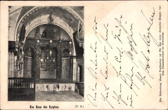 Ak Palästina, Das Haus des Kaiphas, Innenansicht