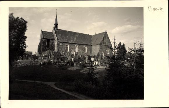 Foto Ak Rodenkirchen Stadland Wesermarsch, Kirche, Friedhof