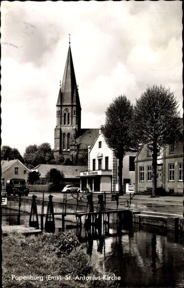 Ak Papenburg im Emsland, St. Antonius Kirche, Geschäft Paul Gersmann