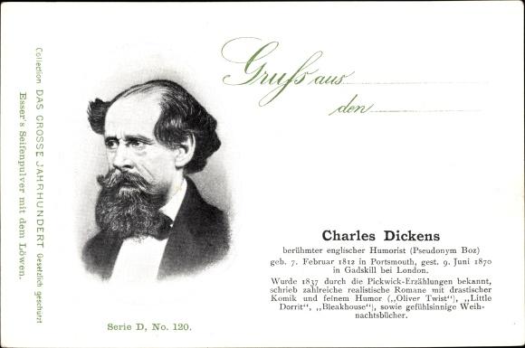 Ak Englischer Schriftsteller Charles Dickens, Portrait, Oliver Twist, Esser's Seifenpulver