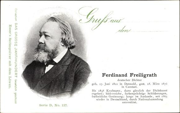 Ak Deutscher Dichter Ferdinand Freiligrath, Portrait, Esser's Seifenpulver