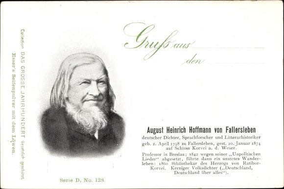 Ak Deutscher Dichter August Heinrich Hoffmann von Fallersleben, Portrait, Esser's Seifenpulver