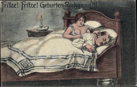 Künstler Ak Fritze, Geburtenrückgang, Mann und Frau im Bett, Nachttopf