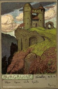 Künstler Litho Liebermann, Ernst, Burgruine auf einem Felsvorsprung