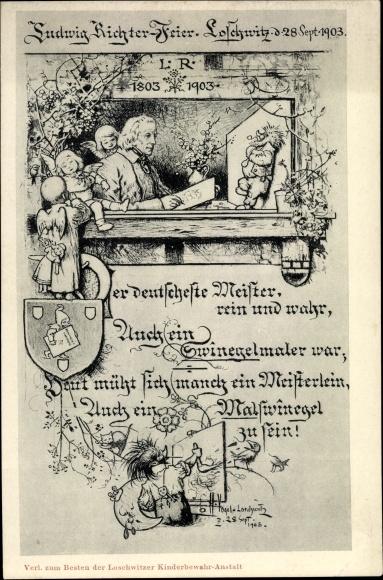 Künstler Ak Vogel, H., Dresden Loschwitz, Ludwig Richter Feier 1903, Maler, Igel