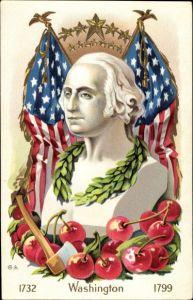 Präge Künstler Ak George Washington, erster Präsident der USA, Flagge, Axt, Kirschen