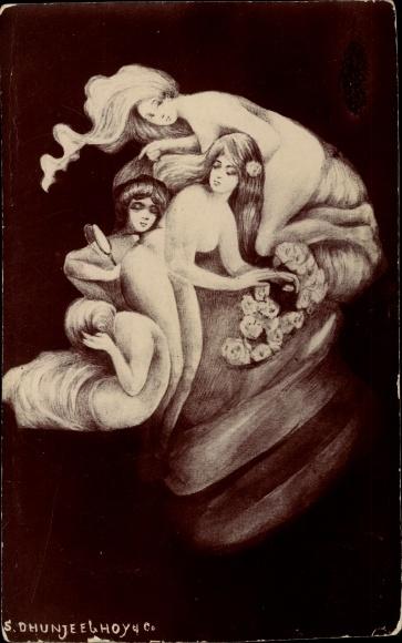 Künstler Ak Männergesicht, Künstler, Frauenakt, Metamorphose
