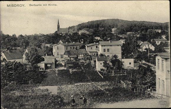 Ak Międzyzdroje Misdroy Pommern, Wohnhäuser im Dorf, Kirche
