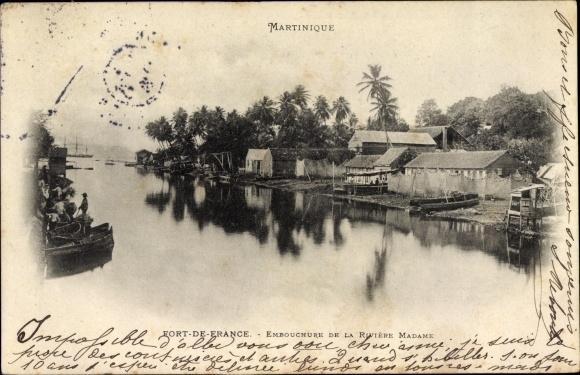 Ak Fort de France Martinique, Embouchure de la Rivière Madame