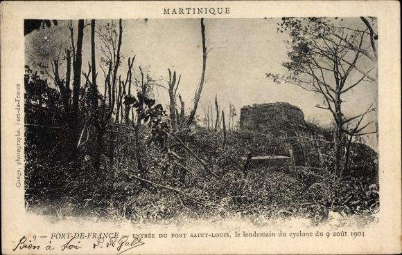Ak Fort de France Martinique, Entrée du Fort Saint Louis, Le lendemain du cyclone, 09 Août 1903