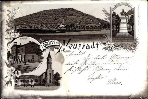 Litho Neustadt bei Coburg Oberfranken, Bahnhof, Kirche, Kaiser Friedrich Denkmal, Panorama