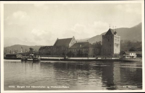 Ak Bergen Norwegen, Hakonshallen og Walkendorffstarn