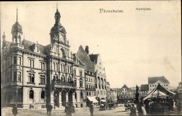 Ak Pforzheim im Schwarzwald, Marktplatz, Rathaus, Geschäft Gustav Feldmann, Gebrüder Schmidt