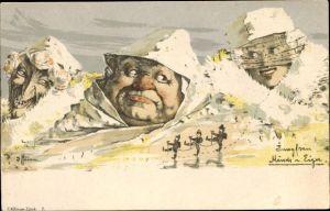 Künstler Litho Hansen, Jungfrau, Mönch und Eiger, Berggesichter, Killinger Nr 7