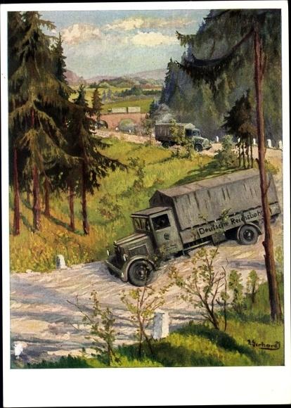 Künstler Ak Gerhardt, Kraftwagen der Reichsbahn im Dienste der Güterbeförderung, LKW
