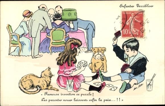 Künstler Ak Sager, Xavier, Enfants terribles, Kinder rauchend, Kartenspiel, Bulldogge, Katze