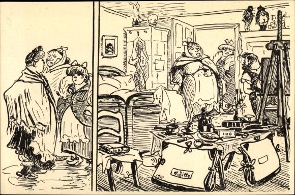 Künstler Ak Zille, Heinrich, Maler bei der Arbeit, Modell, Atelier