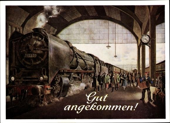 Künstler Ak Gut angekommen, Bahnhof, Dampflok 60550