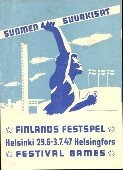 Ak Helsinki Helsingfors Finnland, Festspiele 1947, Suomen Suurkisat