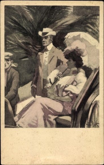 Künstler Ak Reznicek, Ferdinand von, Frau mit Schirm, Simplicissimus