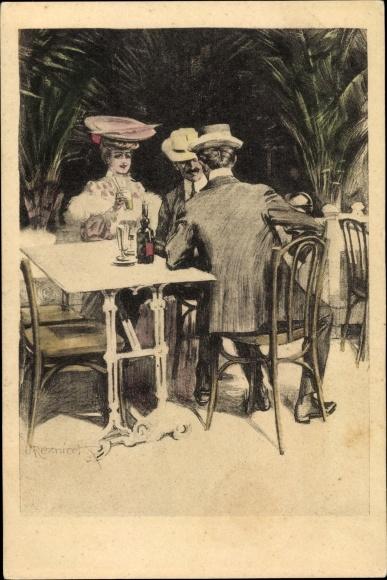Künstler Ak Reznicek, Ferdinand von, Frau, Männer, Simplicissimus