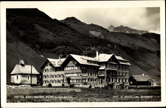 Ak Zürs Lech in Vorarlberg, Hotel Edelweiss und Umgebung
