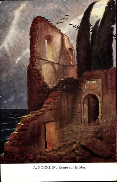 Künstler Ak Böcklin, Arnold, Ruine am Meer, Symbolismus