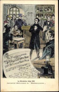 Künstler Ak Belgien, La Revolution belge 1830, Jenneval, Brabançonne, Nationalhymne