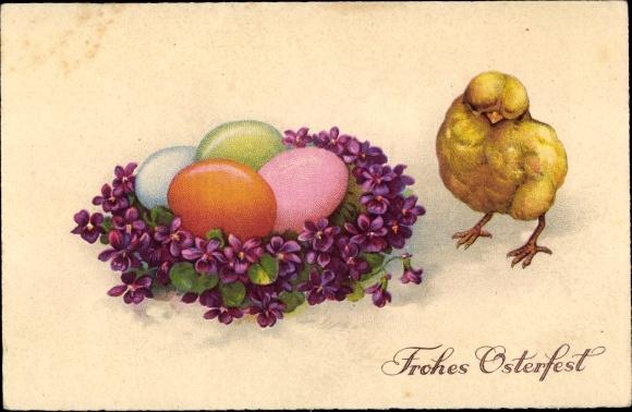 Ak Glückwunsch Ostern, Ostereier, Küken, Blumen