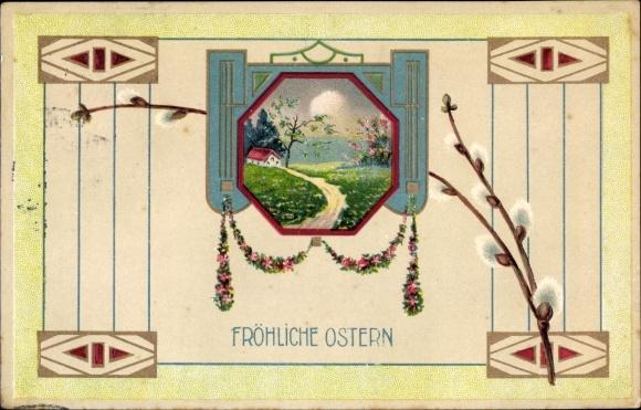 Präge Ak Glückwunsch Ostern, Landschaftsidylle, Weidenkätzchen