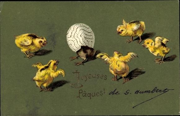 Präge Ak Joyeuses Pâques, Glückwunsch Ostern, Küken