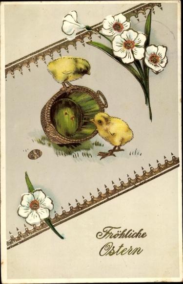 Präge Ak Glückwunsch Ostern, Küken, Blumen, Osterei