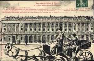 Künstler Ak Voyage de Mimi à Paris, No 9, Mimi médite devant le Ministère, G. Gervais. Kutsche
