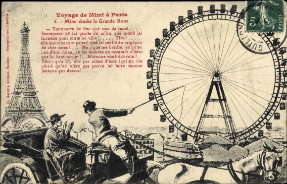 Künstler Ak Voyage de Mimi à Paris, No 5, Mimi étudie la Grande Roue, Gervais, Riesenrad, Eiffelturm