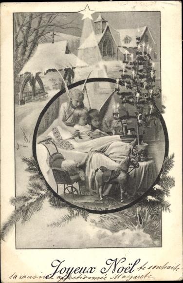 Ak Frohe Weihnachten, Engel, Kinder, Stern, Weihnachtsbaum, Schaukelpferd