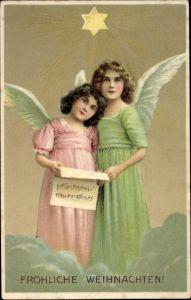 Präge Litho Glückwunsch Weihnachten, Zwei Engel mit Notenblatt auf einer Wolke