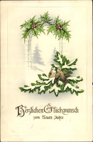 Präge Litho Glückwunsch Neujahr, Zwei Vögel auf einem schneebedeckten Tannenzweig