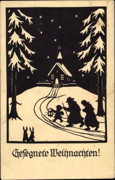 Scherenschnitt Ak Glückwunsch Weihnachten, Engel führt Mann und Frau zu einer Kirche, Hasen