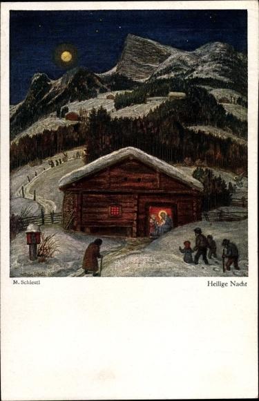 Künstler Ak Schiestl, Matthäus, Heilige Nacht, Winter, Heilige Familie