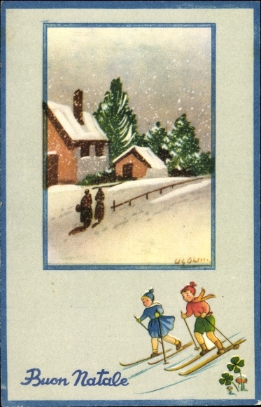 Künstler Ak Glückwunsch Weihnachten, Kinder aus Skiern, Kleeblätter, Häuser, Schneefall