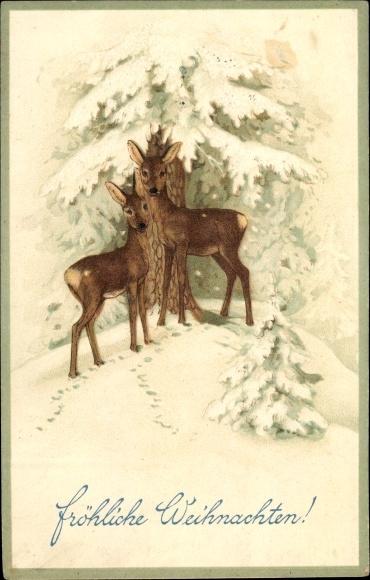 Präge Litho Glückwunsch Weihnachten, Zwei Rehe unter schneebedecktem Tannenbaum