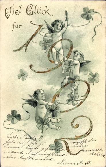 Präge Litho Glückwunsch Neujahr, Jahreszahl 1902, Kleeblätter, Engel