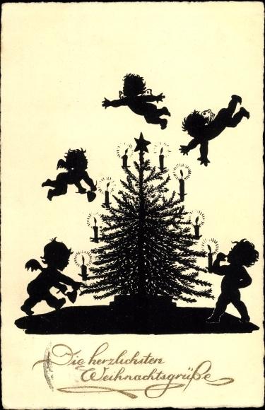 Scherenschnitt Ak Glückwunsch Weihnachten, Engel und Weihnachtsbaum