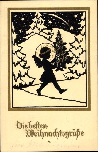 Scherenschnitt Ak Dobsky, K., Glückwunsch Weihnachten, Engel mit Heiligenschein und Tannenbaum