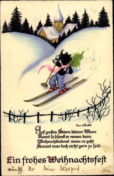Künstler Ak Wahle, Eva, Glückwunsch Weihnachten, Junge mit Tannenbaum aus Skiern